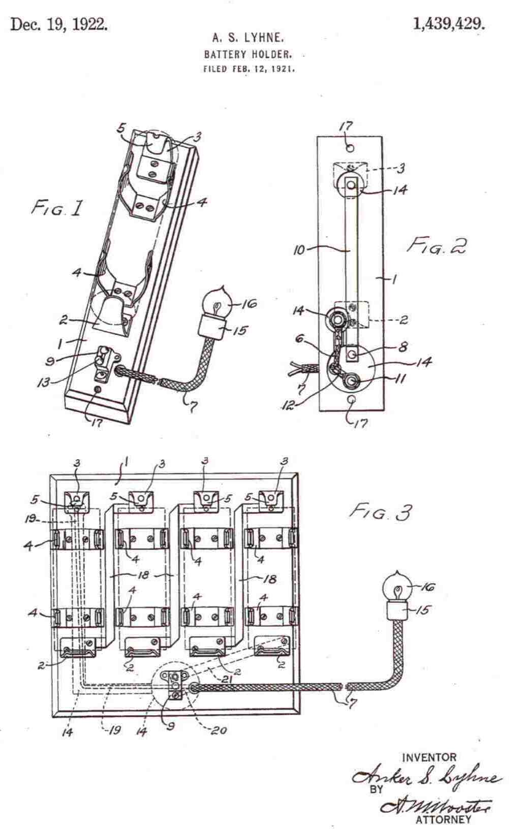 1922 battery holder with spring arms